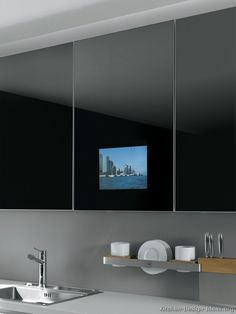 #Kitchen Idea of the Day: Modern Black Kitchens. Very nice, two tone black stainless steel sink built in tv