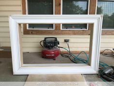 how to build an easy DIY frame for a wall mounted flat screen tv - 12 - front of frame after build is finished