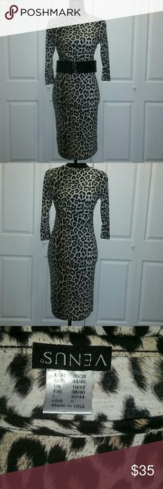 Leopard Bodycon Dress Leopard Bodycon dress wear this stunner with or without the belt. Very form fitting. Belt incl. In price. The seam is coming apart, but nothing that can't be fixed. Venus Dresses