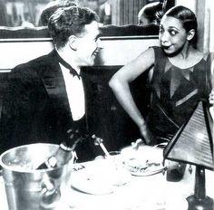 Georges Simenon and Joséphine Baker, La Coupole, Paris, 1925 swanky restaurant + geometric dress + FUNNY FACE