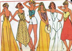 Vintage 70s McCalls 5583 Misses Summer Sun Dress or Triangle Top and Pants or Shorts Sewing Pattern