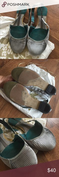 Adidas Stella McCartney Ballet Flats Beautiful Silver Shiny Silk .. No box just dust bag... Purchased at Century 21 Department Store.. Adidas by Stella McCartney Shoes Flats & Loafers