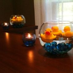 For: a Boy Baby shower With-ought candles Long cylinder, navy marbles, water and one floating duck
