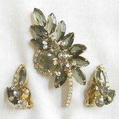 Vintage JULIANA D and E Smoke and Aurora Borealis Brooch & Earrings Demi by MyVintageJewels, $52.00