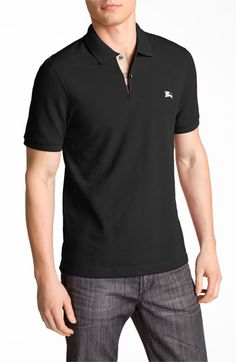 Burberry Brit Modern Fit Piqué Polo available at Black Polo Shirt, Blue Polo Shirts, Pique Polo Shirt, Short Sleeve Polo Shirts, Burberry T Shirt, Burberry Brit Men, Burberry Outfit, Men's Spring Summer Fashion, Modern Font