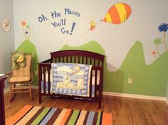 Painted with love for Robbie's nursery with Kat and Ronnie. Oh the places you'll go nursery.