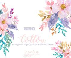 https://www.etsy.com/mx/listing/523994978/en-acuarela-flores-azules-y-rosas-hojas #watercolorclipart #floral #floralinvitation #weddingideas #seamlesspatterns #flowers #etsy