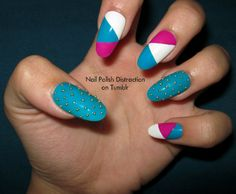 Nail art - Blue, pink and white with geometric touch and gold pearls (I ceep having the pearls fall off...)