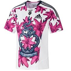 Stade Francais jersey Their jerseys have always given me a giggle. Rugby Jersey Design, Camisa Adidas, Rugby Memes, Rugby Kit, Football Fashion, Sports Uniforms, Football Kits, Sportswear, Rugby Jerseys