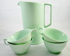 Melmac Pitcher and Cups Green Mint , Set of Outdoor Dishes