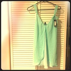 NWT Aqua blue sheer chemise Simple and cute baby doll chemise, received as a gift and never worn!  Has a bow on left shoulder and adjustable straps.  Color: Clearwater O lingerie Intimates & Sleepwear Chemises & Slips