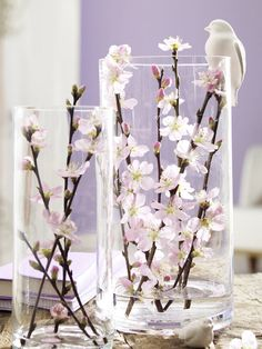Zweig Dekoration selbermachen Spring decoration for indoors: Large translucent glass vases decorated with fresh branches. The simple simple vases in two different sizes give the view of blooming spring flowers. Deco Floral, Arte Floral, Floral Design, Decoration Chic, Deco Nature, Branch Decor, Spring Is Here, Ikebana, Spring Flowers