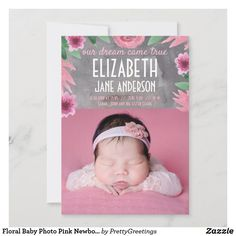 Floral Baby Photo Pink Newborn Girl Birth Announcement Unique Baby Announcement, Baby Girl Birth Announcement, Birth Announcement Photos, Announcement Cards, Baby Girl Photos, Baby Girl Newborn, New Baby Products, Floral, Pink