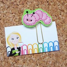 Felt BOOKWORM Bookmark  Paper Clip  Inch Worm by TheBookNookPatch