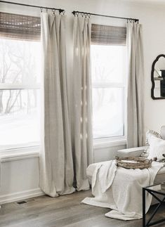 Vintage Home Decor easy no sew drop cloth curtains -.Vintage Home Decor easy no sew drop cloth curtains - Living Room Decor Curtains, Bedroom Windows, Bedroom Decor, Family Room Curtains, Curtains For Kitchen, Livingroom Curtain Ideas, Modern Bedroom, Curtain Ideas For Living Room, Grey Bedrooms