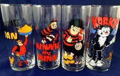 Comic Character Drinking Glasses Tumblers Dandy Beano Menace Minx Korky