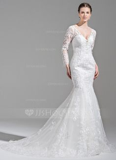 [US$ 299.99] Trumpet/Mermaid V-neck Chapel Train Tulle Wedding Dress With Beading Appliques Lace Sequins