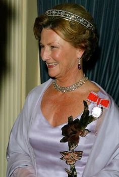 Queen Sonja, Queen consort of King Harald V, wearing Queen Maud's Malteser Tiara (bandeau setting), Norway (early 20th c.; diamonds).