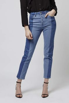 MOTO Mid-rise, straight leg ankle grazer jeans in mid blue, with an edgy laser two-tone panel detailing. We love the contrasting denim wash, pair with a crisp white shirt to nail the look. #Topshop