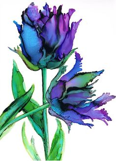 Fine Art Giclée print from my original alcohol ink painting of Black Parrot Tulips. Stunningly vibrant colours of purple blue Alcohol Ink Crafts, Alcohol Ink Painting, Alcohol Ink Art, Art Floral, Watercolor Flowers, Watercolor Art, Parrot Tulips, Ink Drawings, Flower Art