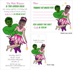 Incredible Hulk & Princess Twin or Sibling Photo Birthday Invitation, Thank you card and favor tag by Jen Allen