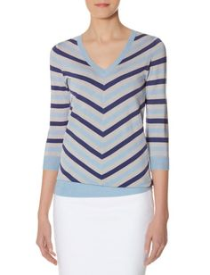 Striped V-Neck Sweater from THELIMITED.com