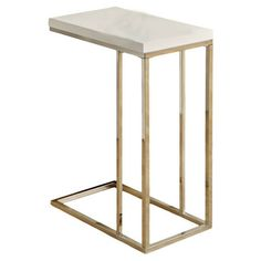 Found it at Wayfair - End Table in Glossy White & Chrome