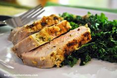 Rosemary Crusted Baked Pork Chops with Garlicky Kale