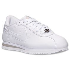 Women's Nike Cortez Basic Leather Casual Shoes| Finish Line | White/Grey