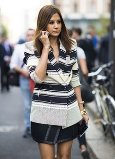 #stripes #black and white #jacket #blazer #photographed by Adam Katz Sinding for W Magazine