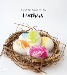 DIY Easter Eggs with bright and happy colored Feathers by Pysselbolaget