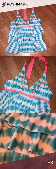 """Justice Swim Top Cami Good condition. See pics for condition. There's a few marks from where I had them put away in garage. No stones💎 missing. Story cute!! Measures 11"""" L from under arm and down. Size 12 Justice Swim Bikinis"""