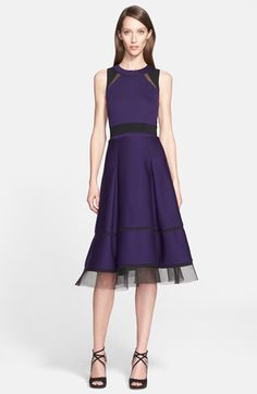 Donna Karan New York Donna Karan New York Mesh Trim Bonded Jersey Fit & Flare Dress available at #Nordstrom