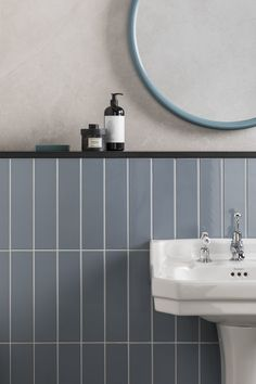 Norse Blue Gloss Ceramic Tiles & Mandarin Stone The post Norse Blue Gloss Ceramic appeared first on Trendy. Contemporary Bathrooms, Modern Bathroom, Small Bathroom, Master Bathroom, Stone Bathroom, Bathroom Ideas, Blue Bathroom Tiles, Blue Bathrooms, Best Bathroom Designs