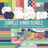 Digital Papers, Frames, and Clipart Camille Jumbo Set. Navy, turquoise, green, yellow, pink, and red.
