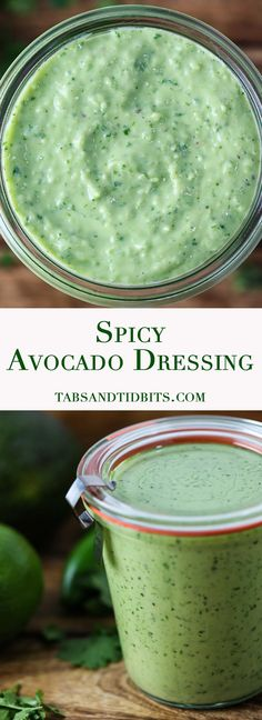 Spicy Avocado Dressing - A creamy and spicy dressing filled with avocados, jalapenos, cilantro,and garlic.