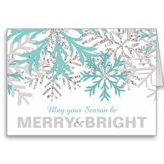 """Snowflake Light Teal Blue Silver Winter Christmas Holiday Card - """"May your Season be Merry & Bright"""""""