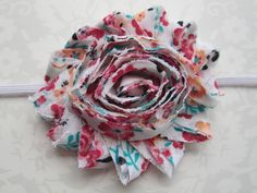 White Red Gold Teal Floral Shabby Chiffon by MelissaRevierDesigns
