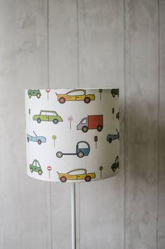 Excited to share the latest addition to my #etsy shop: Cars lamp shade, Boys car nursery, transport bedroom, baby boy nursery, nursery decor boy, car nursery, car lampshade, kids room decor, lamp