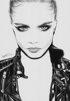Art Print from a pencil drawing of Cara Delevingne by Olivia Onwuka. printed on 250 gsm smooth card. Each individual print is hand signed by me :D