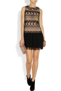 Alice + Olivia|Peri lace and crepe de chine dress|NET-A-PORTER.COM