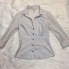 H&M Women's 4 Button Front Polka Dot Black White Career Business  | eBay