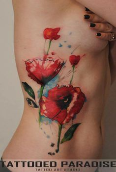 Abstract poppies ink.