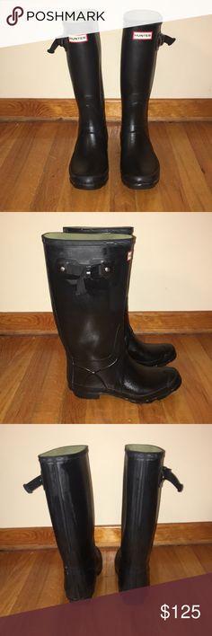74b0256b1143 Hunter Wide Calf Rain Boots Wide calf, matte black/ dark blue, like new,  tall rain boots Hunter Shoes Winter & Rain Boots