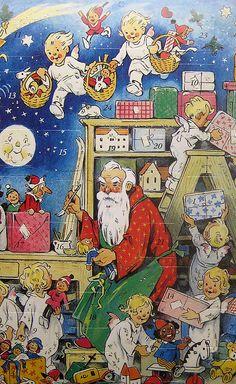 Advent Calendar Germany Christmas Santa Claus by Vintage Christmas Cards, Retro Christmas, Christmas Art, Vintage Cards, Father Christmas, Christmas Scenes, Christmas Pictures, Christmas Angels, Christmas Greetings