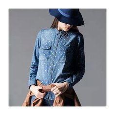 Roupas Femininas | Camisa Feminina Jeans estampa Poá | Tendência Outono Inverno 2015