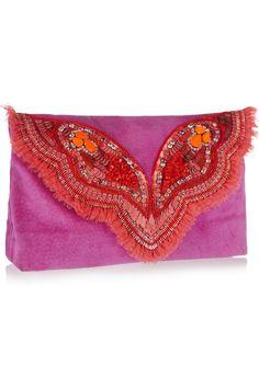 Matthew Williamson|Butterfly embellished suede clutch|NET-A-PORTER.COM
