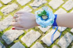 Flower wrist corsage, Blue wrist corsage, Bridesmaid wrist corsage, Bridal corsage, Flower bracelet, Bridesmaid gift, Blue wedding flower Blue Wedding Flowers, Wrist Corsage, Flower Bracelet, Bridesmaid Gifts, Bridal, Trending Outfits, Unique Jewelry, Handmade Gifts, Etsy