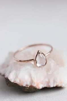 White topaz gold ring, rose gold, yellow gold, white gold, pear cut, delicate, solid 14k gold thin stacking ring, eco friendly, engagement .