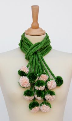 Valentinaday's SALE Knitted  scarf pom pom by Ainurcrochet on Etsy, $40.00